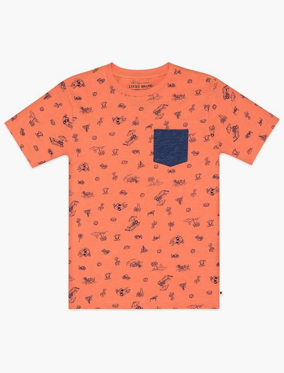 BOYS S-XL DESERT POOL PRINT TEE, DARK ORANGE, productTileDesktop