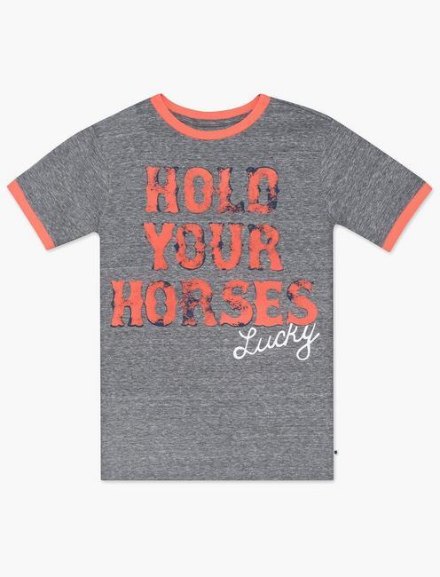 LITTLE BOYS 5-7 HOLD YOUR HORSES TEE, MEDIUM GREY