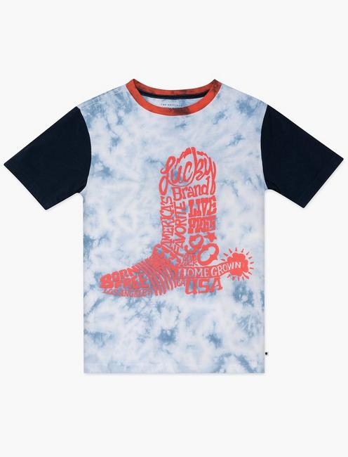 BOYS S-XL LUCKY BOOT TEE, LIGHT BLUE