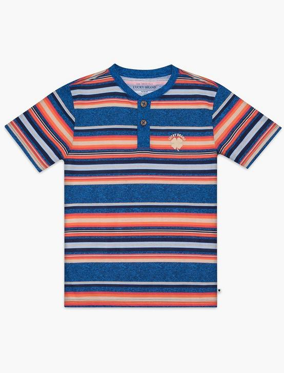 BOYS S-XL STRIPED HENLEY, MEDIUM DARK BLUE, productTileDesktop