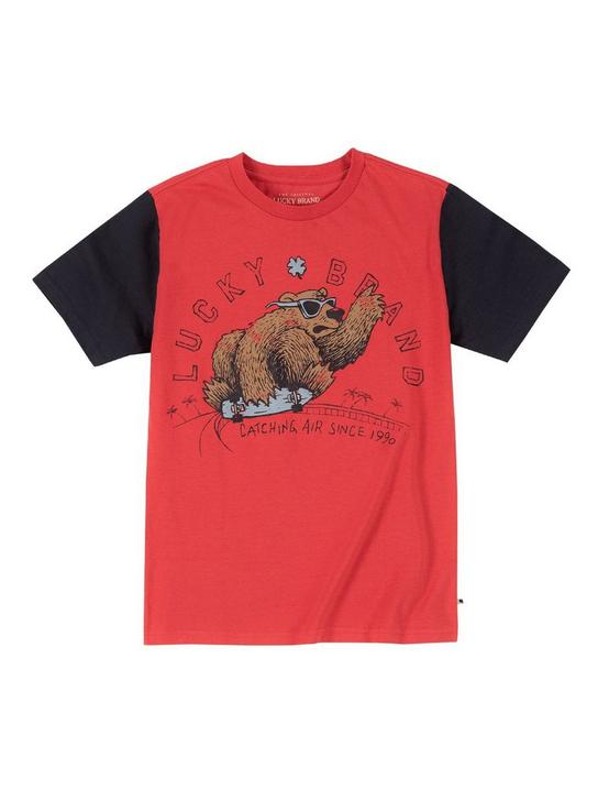 LITTLE BOYS 5-7 CATCHING AIR BEAR TEE, MEDIUM RED, productTileDesktop