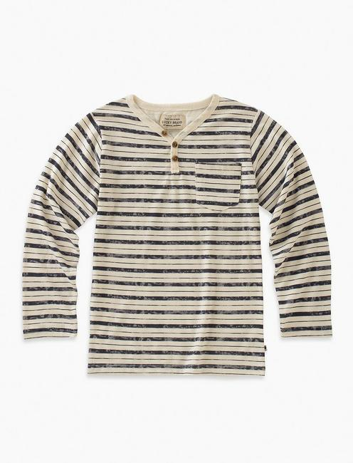 LONG SLEEVE STRIPED Y-NECK HENLEY,
