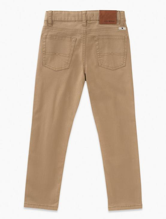 BOYS 8-20 5 POCKET STRETCH TWILL PANT, MEDIUM DARK BROWN, productTileDesktop