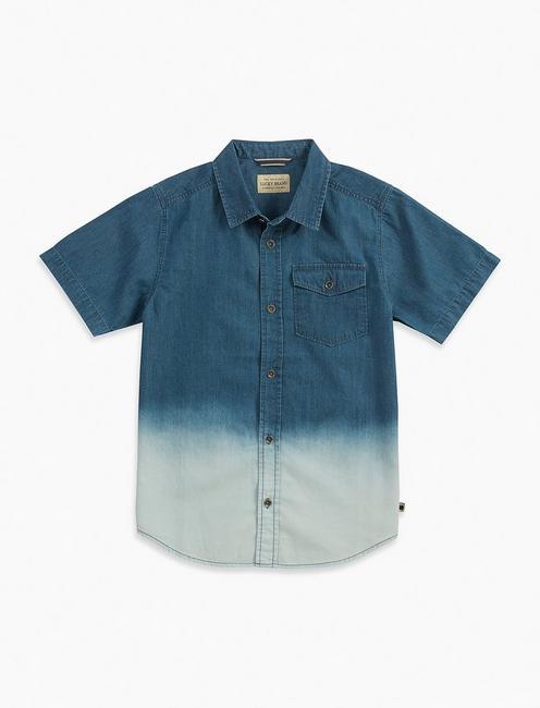 Lucky Brand Boys Short Sleeve Dip Dye Henley