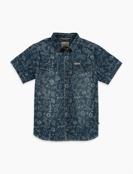LIGHT WEIGHT PRINTED DENIM SHIRT, MEDIUM BLUE, productTileDesktop