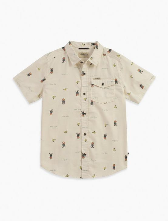 SHORT SLEEVE PRINTED SLUB WOVEN SHIRT, PEARL, productTileDesktop