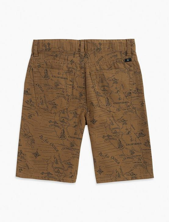 5 POCKET PRINTED CANVAS SHORT, MEDIUM BROWN, productTileDesktop