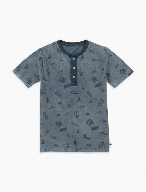 LITTLE BOYS 2T-7 ALLOVER PRINT HENLEY,