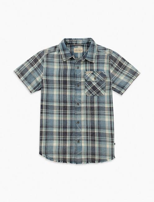 BOYS 2T-7 SHORT SLEEVE BUTTON DOWN PLAID TOP,