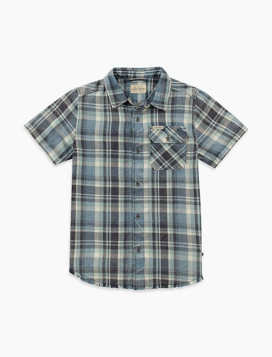 BOYS 2T-7 SHORT SLEEVE BUTTON DOWN PLAID TOP, NAVY, productTileDesktop