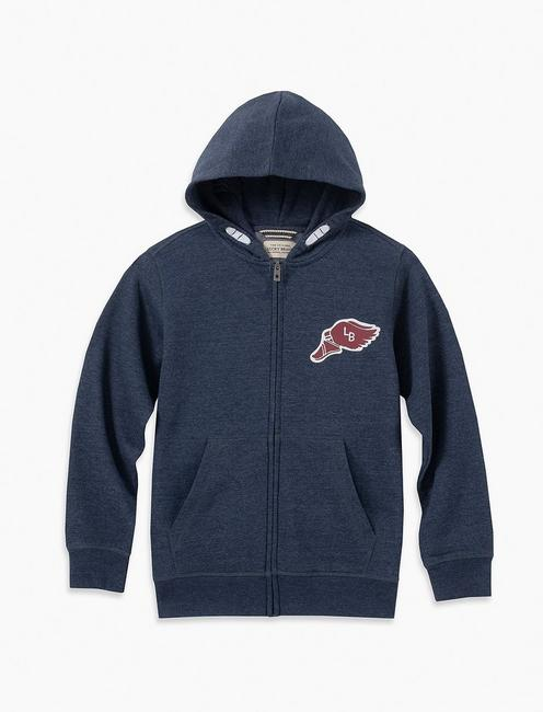 BOYS S-XL ZIP UP HOODY W CHEST GRA,