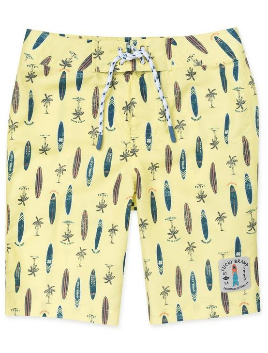 BOYS 8-16 SURF PRINT BOARDSHORTS, GOLD, productTileDesktop