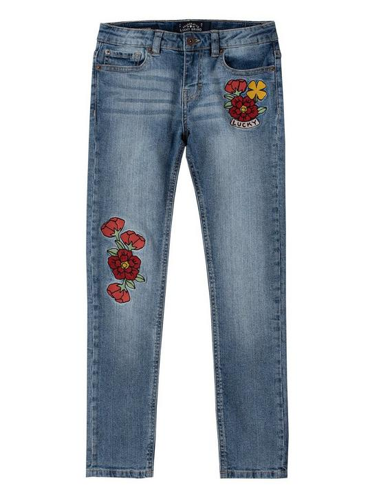 GIRLS 7-16 RENAE EMBROIDERED SKINNY JEAN, NAVY, productTileDesktop