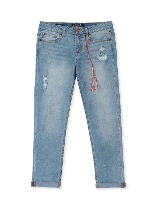 LITTLE GIRLS 5-6X JULIA CUFFED JEAN, TURQUOISE/AQUA, productTileDesktop