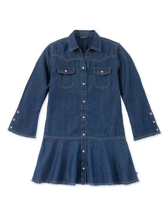 GIRLS S-XL RAE DENIM DRESS, OPEN YELLOW/GOLD, productTileDesktop