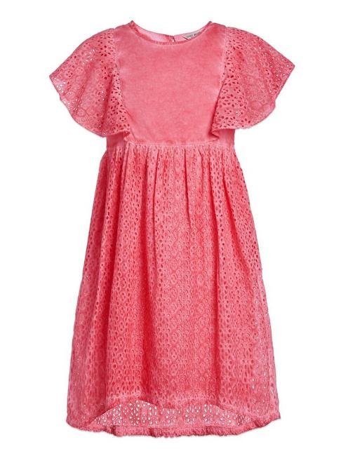 ELODIE EYELIT DRESS, LIGHT ORANGE