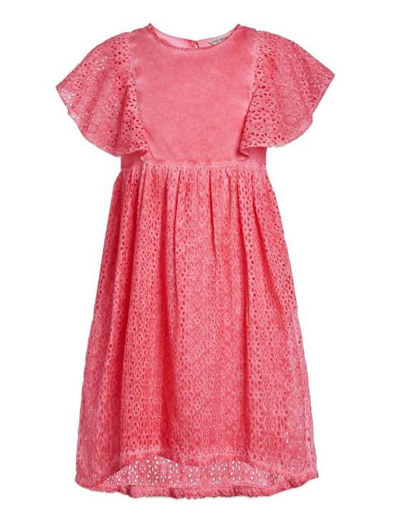 ELODIE EYELIT DRESS, LIGHT ORANGE, productTileDesktop
