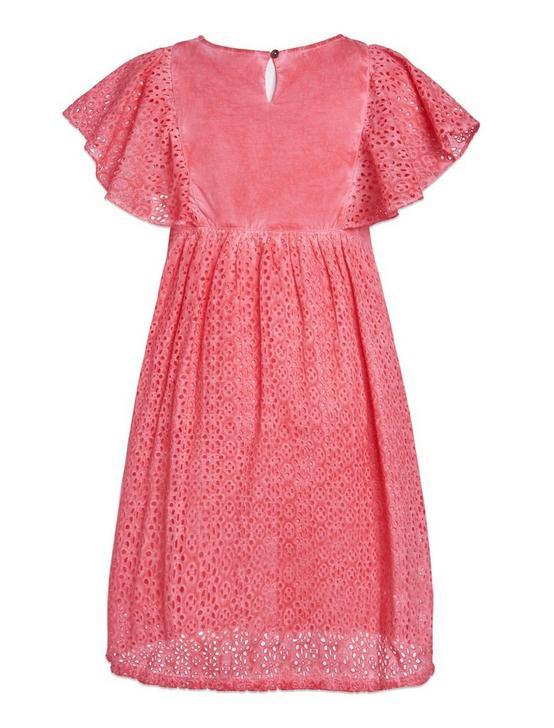 ELODIE EYELIT DRESS, LIGHT ORANGE, productTileDesktop
