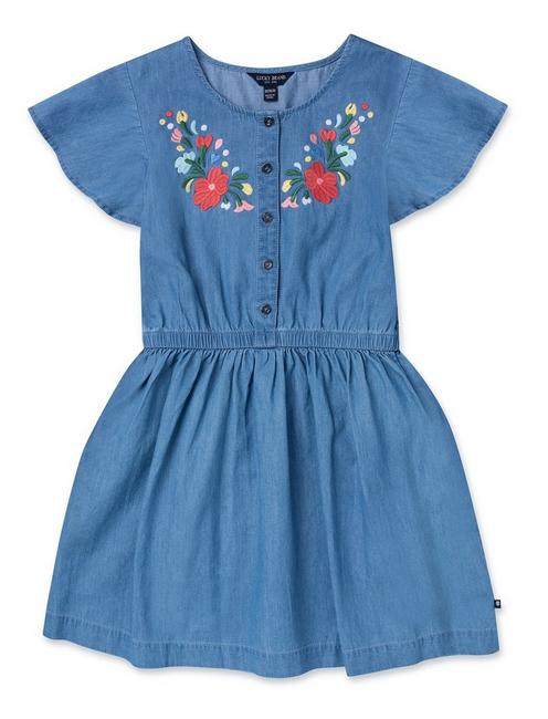 GIRLS S-XL THELMA EMBROIDERED DRESS, OPEN BLUE/TURQUOISE
