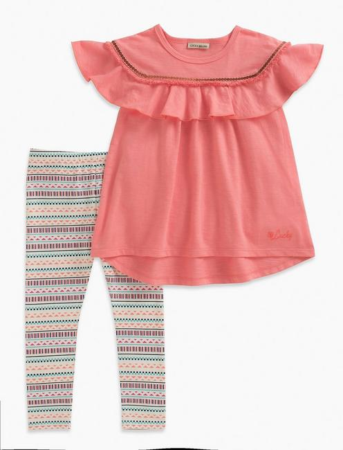 SHORT SLEEVE TOP & STRIPE LEGGINGS SET,