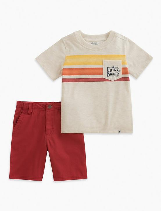 SHORT SLEEVE STRIPE TEE & SHORTS SET, EDI DEFAULT, productTileDesktop