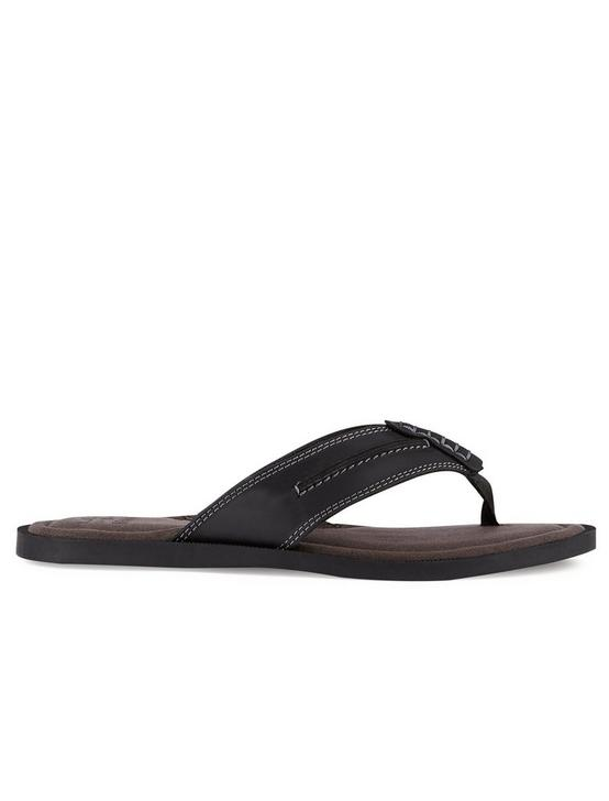 BARLOW LEATHER FLIP FLOP SANDAL, BLACK, productTileDesktop