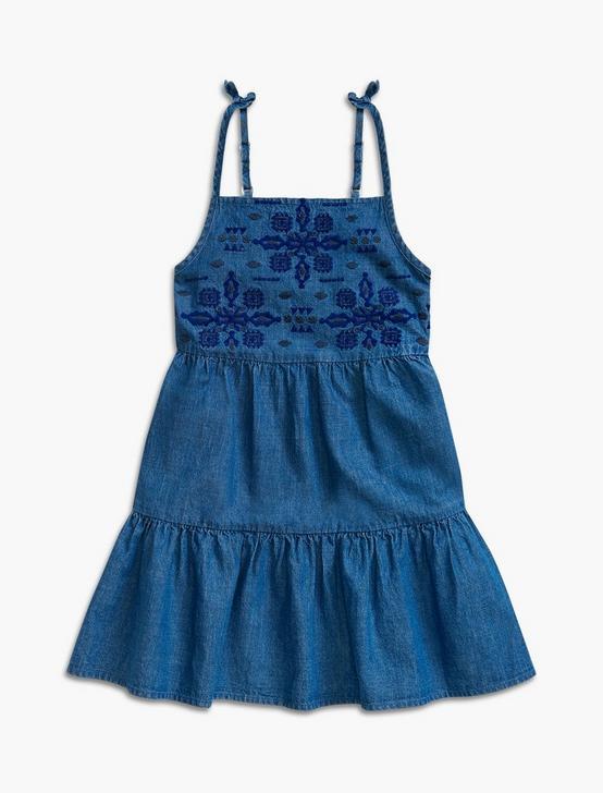 CHAMBRAY TIERED DRESS, MEDIUM BLUE, productTileDesktop