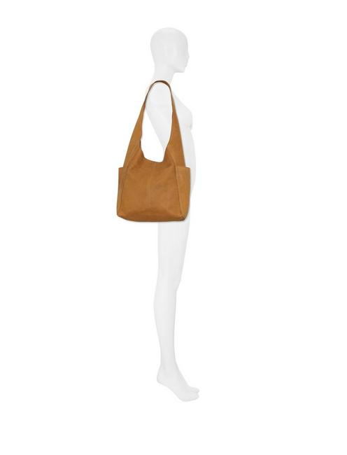 PATTI LEATHER SHOULDER BAG, WALNUT