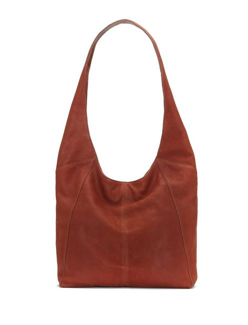PATTI LEATHER SHOULDER BAG, OPEN BROWN/RUST