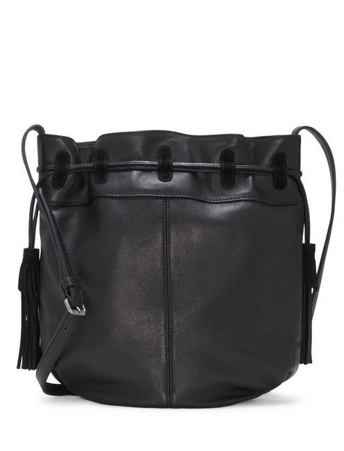 SEREN LEATHER BUCKET BAG, BLACK