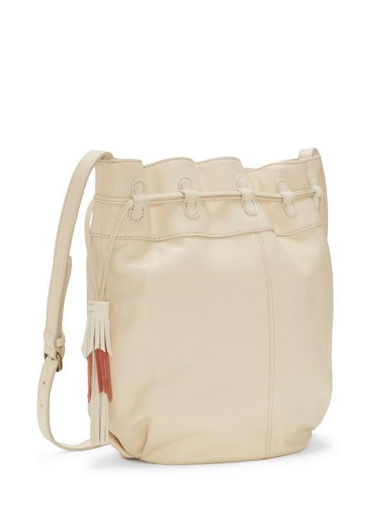 SEREN LEATHER BUCKET BAG, WHITE, productTileDesktop
