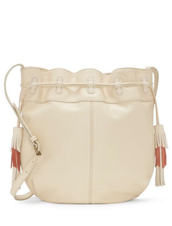 SEREN LEATHER BUCKET BAG, WHITE, productTileDesktop