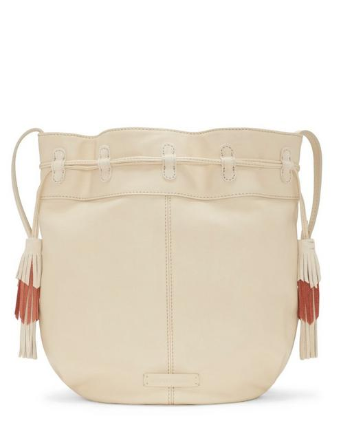 SEREN LEATHER BUCKET BAG, WHITE