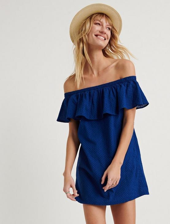 BELLE-AIR OFF-THE-SHOULDER DRESS, DARK BLUE, productTileDesktop