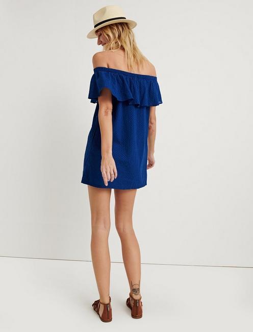 BELLE-AIR OFF-THE-SHOULDER DRESS, DARK BLUE