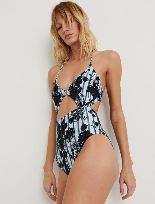 ON THE GRID CUTOUT ONE PIECE, DARK BLUE