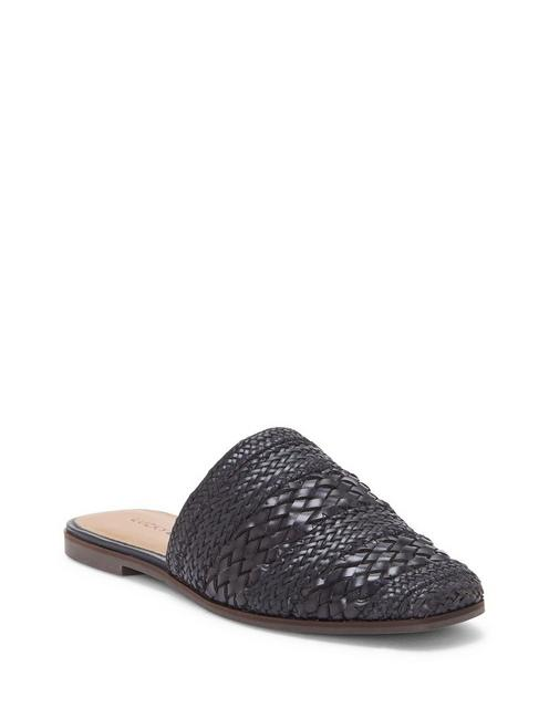ACASIA LEATHER SLIDE, BLACK
