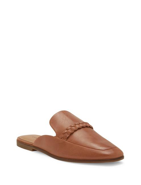 AGNAE LEATHER SLIDE, DARK BROWN