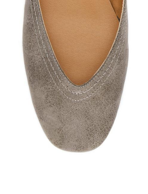 ALBA LEATHER FLAT, LIGHT GREY