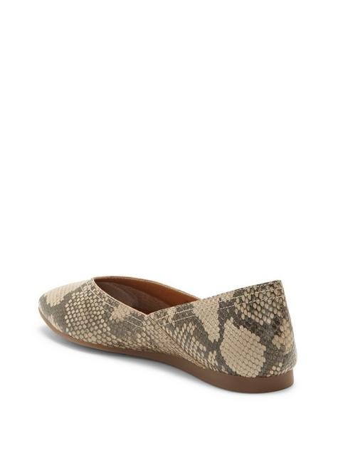 ALBA LEATHER FLAT, OPEN GREY