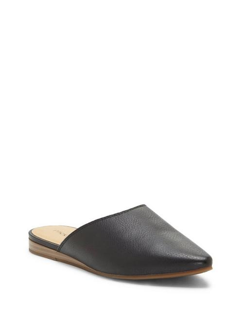 BAREISHA LEATHER FLAT SLIDES, BLACK