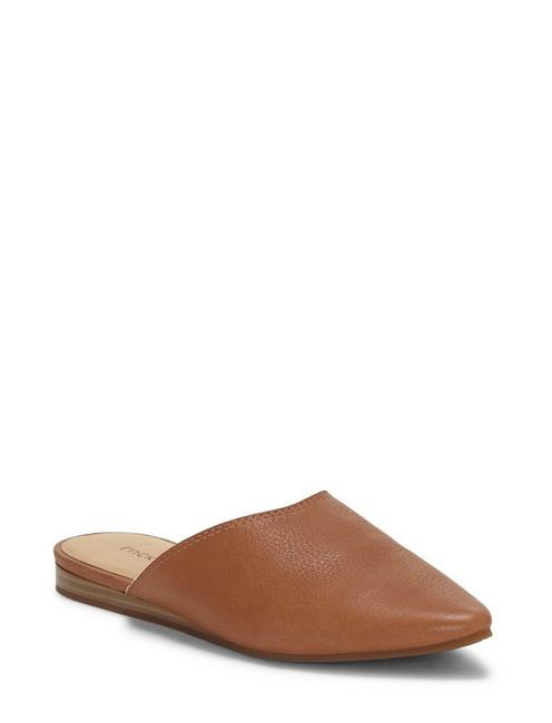 BAREISHA LEATHER FLAT SLIDES, MEDIUM DARK BEIGE