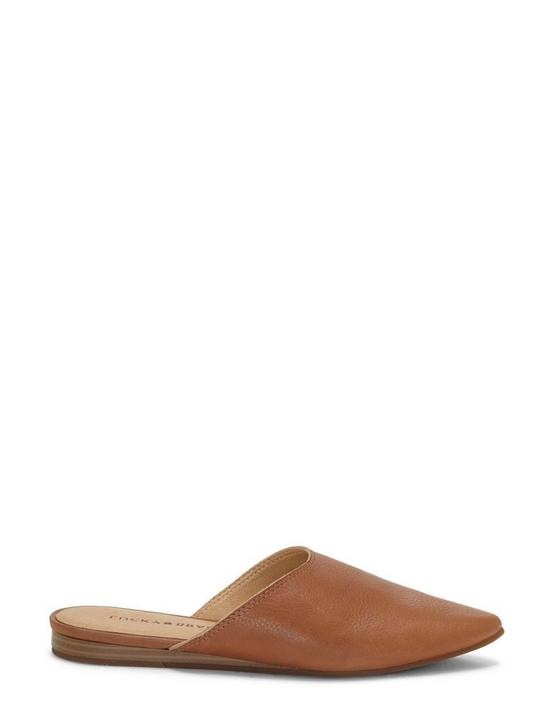 BAREISHA LEATHER FLAT SLIDES, MEDIUM DARK BEIGE, productTileDesktop