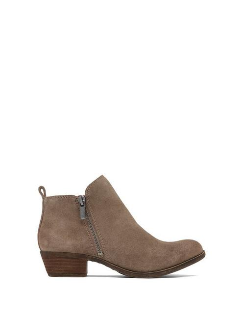 BASEL SUEDE FLAT BOOTIE, LIGHT BROWN