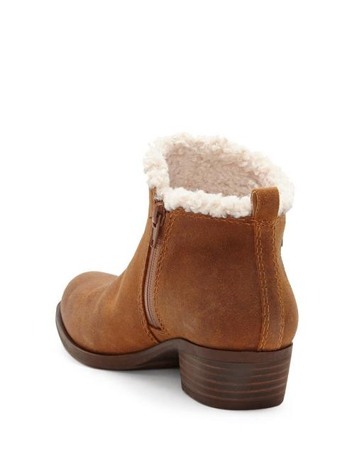 BASEL SHEARLING BOOTIE, OPEN BROWN/RUST