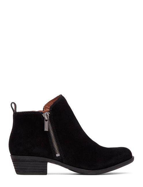 BASEL FLAT LEATHER BOOTIE, BLACK SUEDE