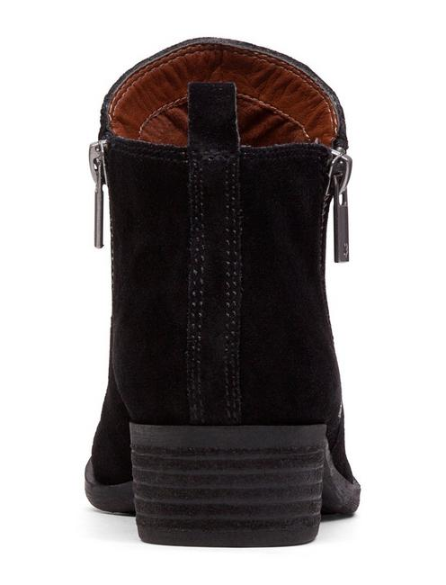 BASEL LEATHER FLAT BOOTIE, BLACK SUEDE