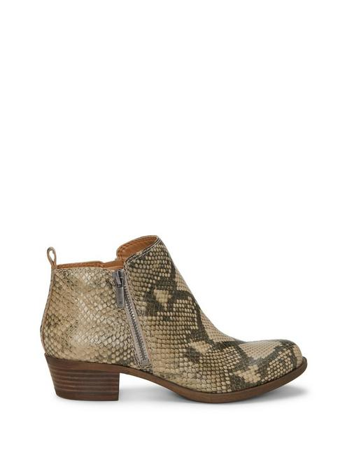 BASEL LEATHER FLAT BOOTIE, OPEN GREY