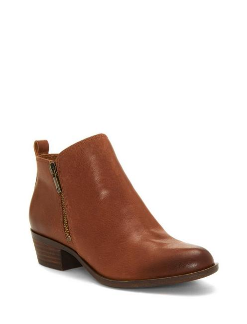 BASEL LEATHER FLAT BOOTIE, TOFFEE