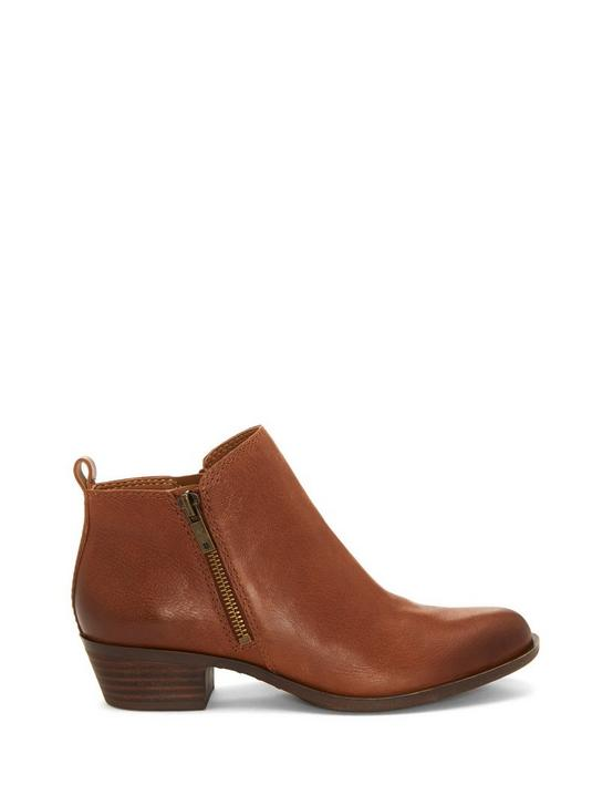 BASEL LEATHER FLAT BOOTIE, TOFFEE, productTileDesktop